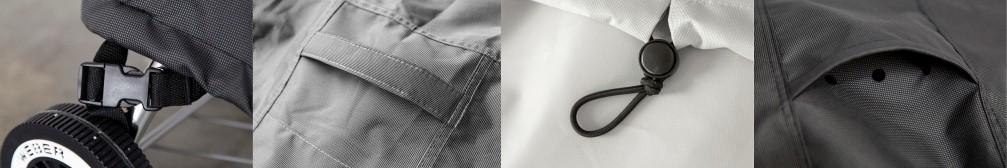 das Bild zeigt Klettverschluss, Handschlaufe, Zugband und Lüftungsschlitze von Gasgrill Abdeckhauben