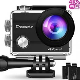"""Action Cam 4K Unterwasserkamera Action Kamera WiFi Crosstour Wasserdicht Sports Cam Ultra Full HD 2"""" LCD 170°Ultra Weitwinkel 30M Helmkamera mit 2 Batterien und kostenlose Accessoires - 1"""