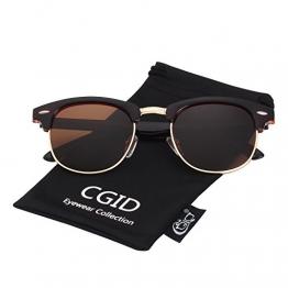 CGID MJ56 Clubmaster clubma Retro Vintage Sonnenbrille im angesagte 60er Browline-Style mit markantem Halbrahmen Sonnenbrille,Braun-Braun - 1