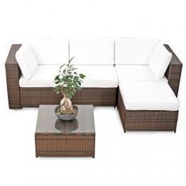 erweiterbares 15tlg. Balkon Polyrattan Lounge Ecke - braun - Sitzgruppe Garnitur Gartenmöbel Lounge Möbel Set aus Polyrattan - inkl. Lounge Sessel + Ecke + Hocker + Tisch + Kissen - 1