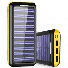 Externer Akku PLOCHY 24000mAh Solar Powerbank, Solar Ladegerät mit 3 Ausgänge und Lighting & Micro Dual Input Power Bank Handy für iPhone, iPad, Samsung Galaxy und andere Smartphones(Gelb) - 1
