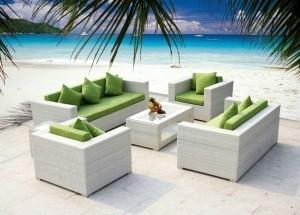 Poly Rattan Outdoor Sitzgarnitur mit 3er Sofa, 2er Sofa und 2 Sesseln