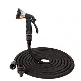 H&D® Original Flexibler Gartenschlauch Schwarz Wasserschlauch Magic Hose dehnbarer Zauberschlauch mit gummiertem und Edelstahl Handgriff (30m, Schwarz) - 1