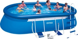 Intex Aufstellpool Oval Frame Pool Set, TÜV/GS, Blau, 549 x 305 x 107 cm - 1