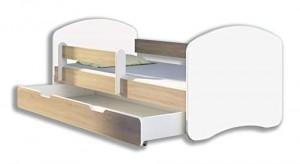 Kinderbett Jugendbett mit einer Schublade und Matratze Weiß ACMA II (160x80 cm + Schublade, Eiche Sonoma) - 1