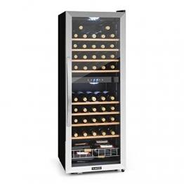 Klarstein Vinamour 54D • Weinkühlschrank • Getränkekühlschrank • Gastro-Kühlschrank • 2 Zonen • 148 Liter • 54 Flaschen • 8 Holzeinschübe • LED-Beleuchtung • sehr leise • LCD-Display • Touch-Bediensektion • verstellbare Standfüße • schwarz-silber - 1