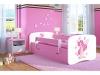Kocot Kids Kinderbett Jugendbett 70x140 80x160 80x180 Rosa mit Rausfallschutz Matratze Schubalde und Lattenrost Kinderbetten für Mädchen - Fee mit Schmetterlingen 160 cm - 1