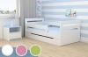 Kocot Kids Kinderbett Jugendbett 80x160 Weiß mit Rausfallschutz Matratze Schubalde und Lattenrost Kinderbetten für Mädchen und Junge - Tomi 160 cm - 1