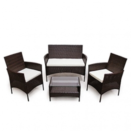 POLY RATTAN Sitzgruppe Essgruppe Set Farbwahl - Cube Sofa-Garnitur Gartenmöbel Lounge Farbwahl (4er Garnitur, Braun) - 1