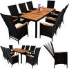 PolyRattan Sitzgruppe 8+1 Schwarz Gartenmöbel Gartenset Sitzgarnitur ✔ neigbare Rückenlehnen ✔ Tisch aus Akazienholz ✔ wetterbeständiges Polyrattan ✔ Modellauswahl - 1