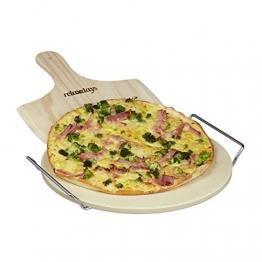 Relaxdays Pizzastein Set 1 cm Stärke mit Metallhalter und Pizzaschieber aus Holz HBT 4 x 32 x 32 cm runder Brotbackstein für Pizza und Flammkuchen mit Pizzaschaufel für Pizzaofen, natur - 1