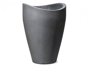 Scheurich Wave Globe High, Hochgefäß aus Kunststoff, Schwarz-Granit, 50,5 cm Durchmesser, 67 cm hoch, 33 l Vol. - 1