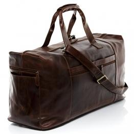 SID & VAIN® Reisetasche BRISTOL - Unisex Weekender groß Ledertasche Sporttasche im Vintage-Look Damen und Herren echt Natur-Leder braun-cognac - 1