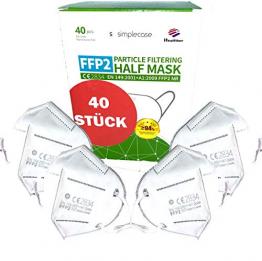Simplecase 40 Stück FFP2 Maske, CE Zertifiziert von offiziell benannter Stelle CE2834, Atemschutzmaske, Partikelfiltermaske - 1