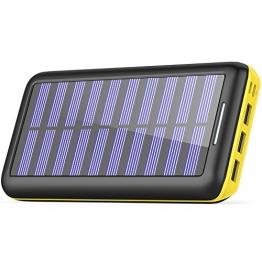 Solar Ladegerät Powerbank, BERNET 24000mAh Externe Akku Batterien mit (Lighting & Micro)Dual Input und 3 Ausgänge Solar Power Bank für iPhone, iPad, Samsung, Android und andere Smartphones-Gelb - 1