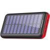 Solar Ladegerät Powerbank, BERNET 24000mAh Externe Akku Batterien mit (Lighting & Micro)Dual Input und 3 Ausgänge Solar Power Bank für iPhone, iPad, Samsung, Android und andere Smartphones-Rot - 1