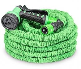 tillvex flexiSchlauch - flexibler Gartenschlauch 30m ausgedehnt, Testurteil GUT, Wasserschlauch flexibel, Gartenteichschlauch dehnbar - 1
