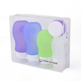 Travel Hardwear Silikon Reise Flaschen Set & Kulturbeutel - Farbige Fläschchen mit Saugnapf und Flugzeug Kulturtasche für Handgepäck Kosmetiktasche Reiseflaschen für Shampoo Creme Spülung Körperpflege - 1