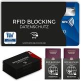 TÜV geprüfte RFID Blocking NFC Schutzhüllen (12 Stück) für Kreditkarte, Personalausweis, EC-Karte, Reisepass, Bankkarte, Ausweis - 100% Schutz gegen unerlaubtes Auslesen - Kreditkarten RFID Blocker - 1
