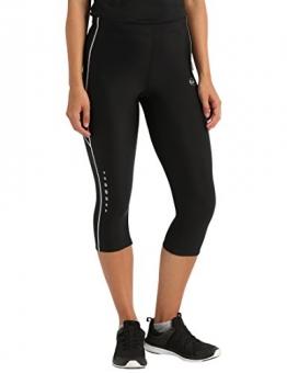 Ultrasport Damen mit Kompressionswirkung und Quick-Dry-Funktion Laufhose, 3/4 Lang, Schwarz/Weiß, M - 1