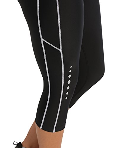 Ultrasport Damen mit Kompressionswirkung und Quick-Dry-Funktion Laufhose, 3/4 Lang, Schwarz/Weiß, M - 7