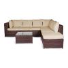 Vanage Gartenmöbel Set XXXL Montreal schöne Polyrattan Lounge Möbel für Garten, Balkon und Terrasse 2 Dreisitzer, braun/beige - 1