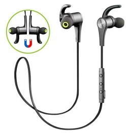 [Verbesserte Version] SoundPEATS Bluetooth Kopfhörer 4.1 Sport In Ear Kabellos AptX 8 Stunden Magnetisch mit Mikrofon Schweißfest geeignet für Jogging Fitness Workout Stereo Ohrhörer für iPhone Samsung und jedes andere Smartphone oder Bluetooth-Gerät ( Schwarz ) - 1