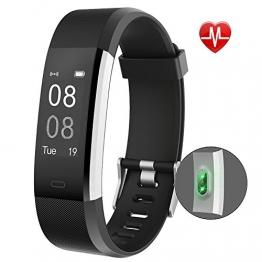 YAMAY Fitness Armband Uhr mit Pulsmesser,Wasserdicht IP67 Fitness Tracker Aktivitätstracker Pulsuhren Bluetooth Smart ArmbandUhr Schrittzähler mit Schlafmonitor Kalorienzähler Vibrationsalarm Anruf SMS Whatsapp Beachten kompatibel mit iPhone Android Handy - 1